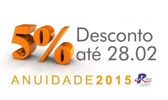 You are currently viewing Garanta 5% de desconto na Anuidade 2015, pague até 28 de fevereiro