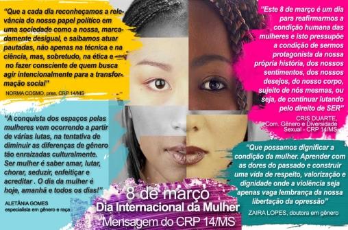 You are currently viewing 8 de março | Mensagem do CRP 14/MS ao Dia Internacional da Mulher