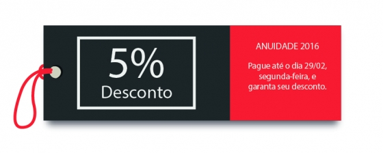 You are currently viewing DIA 29 VENCE ANUIDADE 2016, GARANTA 5% DE DESCONTO NO PAGAMENTO