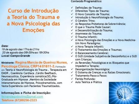 You are currently viewing Curso abordará Introdução a Teoria do Trauma e a Nova Psicologia das Emoções (Divulgação de Terceiros)