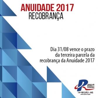 """You are currently viewing O vencimento da terceira parcela da """"Recobrança 2017"""" será dia 31/08"""