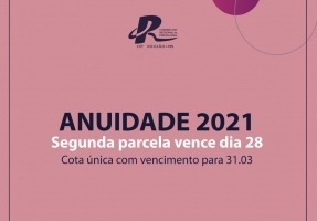 You are currently viewing Segunda parcela da Anuidade 2021 vence dia 28