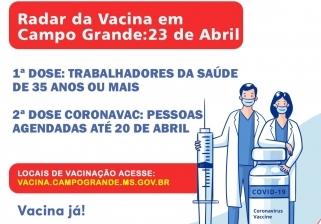 You are currently viewing RADAR DA VACINA: Profissionais com 35 anos ou mais podem se vacinar em CG