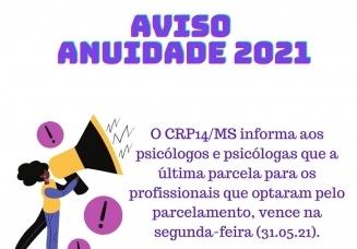 You are currently viewing Anuidade 2021 – Vencimento da Última parcela