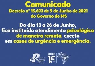You are currently viewing COMUNICADO SOBRE O DECRETO Nº 15.693 DO GOVERNO DE MS