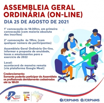 You are currently viewing CRP14/MS convoca psicólogos(as) para assembleia geral na versão on-line